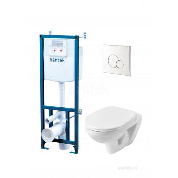 ПЭК Santek Бореаль Пэк 1WH501544 подвесной унитаз + инсталляция + сиденье + панель хром