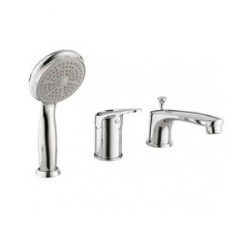 Смеситель для ванны встраиваемый, на три отверстия, с аксессуарами, хром, Luna, Lemark, LM4145C