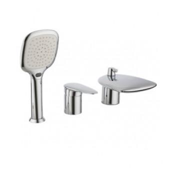 Смеситель для ванны встраиваемый, на 3 отверстия, с аксессуарами, хром, Status, Lemark, LM4445C