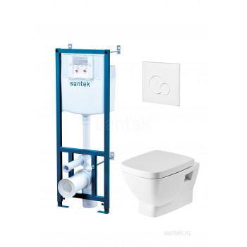 ПЭК Santek Нео Пэк 1WH302463 подвесной унитаз + инсталляция + сиденье + панель белого цвета