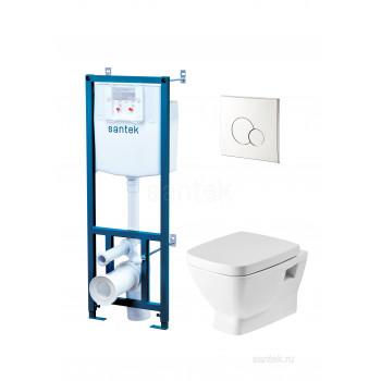 ПЭК Santek Нео Пэк 1WH501543 подвесной унитаз + инсталляция + сиденье + панель хром