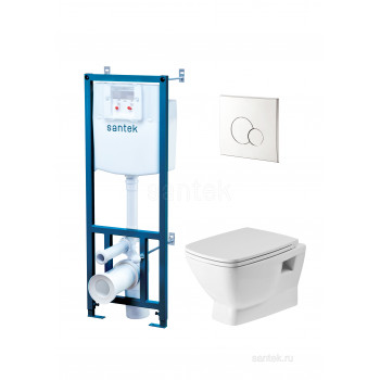 ПЭК Santek Нео Пэк 1WH501572 подвесной унитаз rimless + инсталляция + сиденье + панель хром