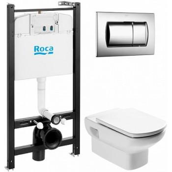 ПЭК Roca Dama Senso Pack 893104090 подвесной унитаз + инсталляция + кнопка + сиденье