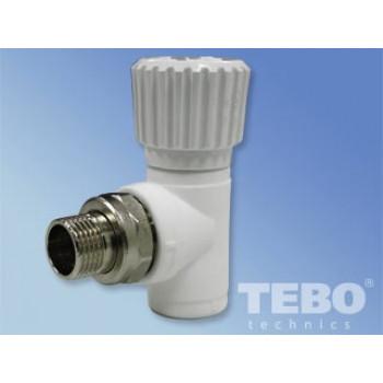 Вентиль для радиаторов угловой ПП 20х1/2″ (TEBO)