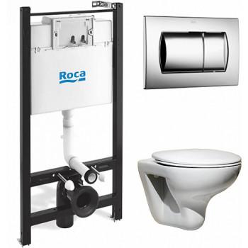 ПЭК Roca Mateo Pack 893100010 подвесной унитаз + инсталляция + кнопка + сиденье