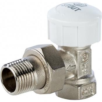 Вентиль термостатический угловой под термоголовку 1/2 STOUT