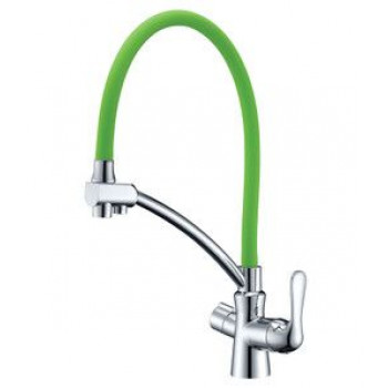 Смеситель для кухни, с гибким изливом, подключение к фильтру питьевой воды, хром/зеленый, Comfort, Lemark, LM3070C-Green
