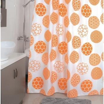 Штора для ванной комнаты, 180*200 см, полиэстер, Orange Dots, Milardo, 850P180M11