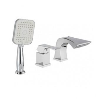 Смеситель для ванны встраиваемый, на 3 отверстия, с аксессуарами, хром, Unit, Lemark, LM4545C