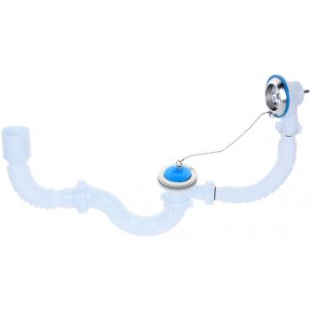 """Комплект для ванны """"АНИ пласт"""" E155: сифон с выпуском, переливом 1 1/2"""", гибкая труба"""