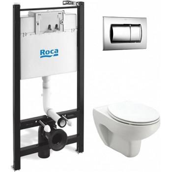 ПЭК Roca Victoria Pack 893100000 подвесной унитаз + инсталляция + кнопка + сиденье