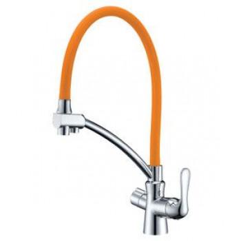 Смеситель для кухни, с гибким изливом, подключение к фильтру питьевой воды, хром/оранжевый, Comfort, Lemark, LM3070C-Orange