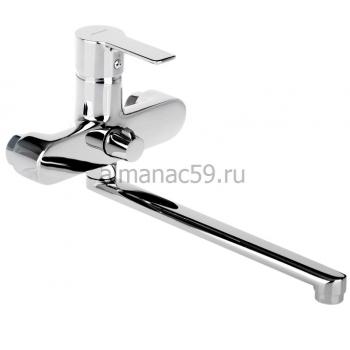 Cмеситель для ванны Accoona A7108, однорычажный, излив 300 мм, с душевым набором, латунь, хром