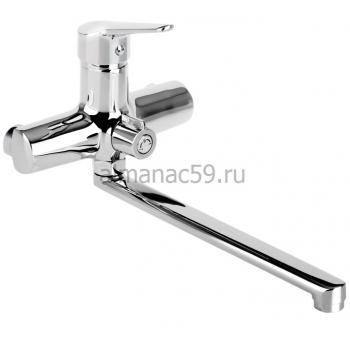Cмеситель для ванны Accoona A7109, однорычажный, излив 300 мм, с душевым набором, латунь, хром