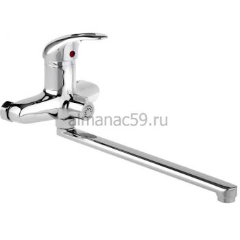 Смеситель для ванны Accoona A7140, однорычажный, излив 300 мм, силумин, хром