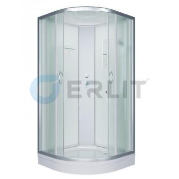 Душевая кабина 90*90*215 белые стенки, матовое стекло, низкий поддон ERLIT ER3509P-C3-RUS