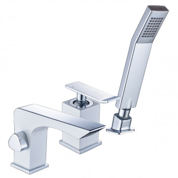Смеситель для ванны встраиваемый, на 3 отверстия, с аксессуарами, хром/белый, Contest, Lemark, LM5845CW