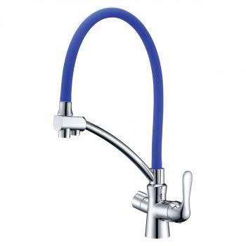 Смеситель для кухни, с гибким изливом, подключение к фильтру питьевой воды, хром/синий, Comfort, Lemark, LM3070C-Blue
