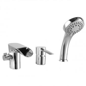 Смеситель для ванны встраиваемый, на 3 отверстия, с аксессуарами, хром, Atlantiss, Lemark, LM3245C