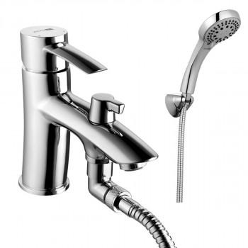 Смеситель на борт ванны, с коротким изливом, с аксессуарами, хром, Atlantiss, Lemark, LM3215C
