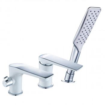 Смеситель для ванны встраиваемый, на 3 отверстия, с аксессуарами, хром/белый, Allegro, Lemark, LM5945CW