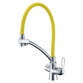 Смеситель для кухни, с гибким изливом, подключение к фильтру питьевой воды, хром/желтый, Comfort, Lemark, LM3070C-Yellow