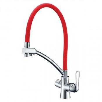 Смеситель для кухни, с гибким изливом, подключение к фильтру питьевой воды, хром/красный, Comfort, Lemark, LM3070C-Red