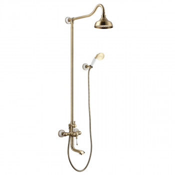 """Cмеситель для ванны с верхней душевой лейкой """"Тропический дождь"""", поворотный изл. 16, Villa, Lemark, LM4862B"""