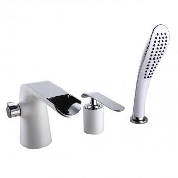 Смеситель для ванны встраиваемый, на 3 отверстия, с аксессуарами, хром/белый, Melange, Lemark, LM4945CW