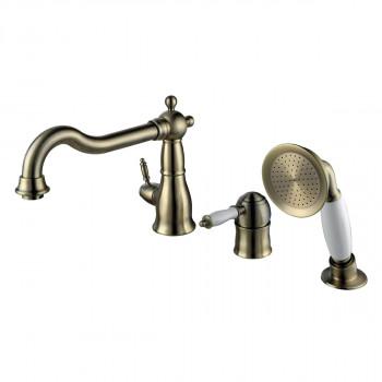 Смеситель для ванны встраиваемый, на 3 отверстия, с аксессуарами, бронза, Villa, Lemark, LM4845B