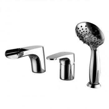 Смеситель для ванны встраиваемый, на 3 отверстия, с аксессуарами, хром, Shift, Lemark, LM4345C