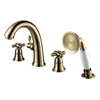 Смеситель для ванны встраиваемый, на 4 отверстия, с аксессуарами, бронза, Vintage, Lemark, LM2841B